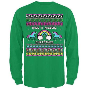 ONETOW Retro 90s Rainbow Unicorn Magical Ugly Christmas Sweater Mens Long Sleeve T Shirt