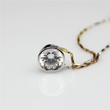 1CT Center Esdomera Moissanite Round Bezel Solitaire 14k Yellow Gold Pendants Necklace (CFP0009)