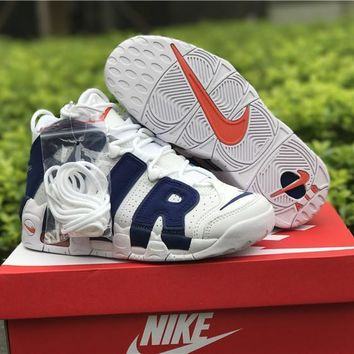 Nike Air More Uptempo White Blue Basketball Shoes 40 46