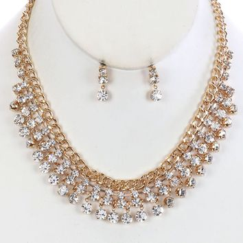 Clear Layered Crystal Stone Bib Necklace And Earring Set