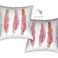 Pink Feathers Decorative Pillow
