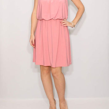 Short Light pink dress Bridesmaid Dress Summer dress party dress