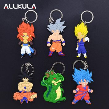 2018 Dragon Ball Z GT Action Figure for Keychain Cute Goku Super Saiyan Soft PVC Cartoon Key Chains Peripherals