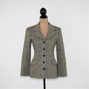 90s Herringbone Tweed Blazer Jacket Women Small Wool Long Fitted Blazer Black White Size 4 Jacket Limited Vintage Clothing Womens Clothing