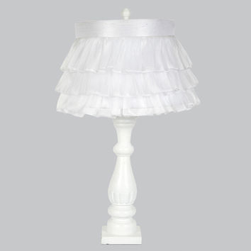 Jubilee Collection L71890W-4770 White One Light Table Lamp with White Ruffled Sheer Skirt Shade