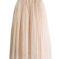 Lookbook Store® Women's Elegant 3 Layered Gauze Tulle Long Skirt Light Pink One Size