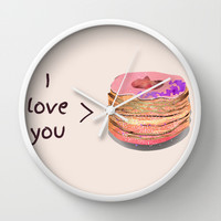 I love you more than cronuts Wall Clock by Kanika Mathur