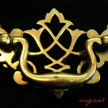 Vintage Chippendale Pulls By Keeler Brass Co Gold Lattice Hardware for Furniture Dressers Drawers