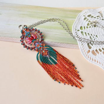 Bohemian colorful necklace, micro macrame jewelry, boho chic, tassel fringe necklace, beaded pendant, free spirit mood, unique beadwork