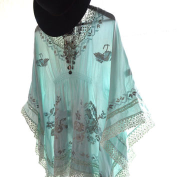 Coachella tunic dress, Bohemian turquoise, Music festival dresses Boho gypsy spell batwing tunic, Modern Hippie chic True rebel clothing SM