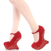 Red Spike Trimmed Rhinestone Gravity Wedges Faux Suede