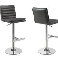 Charcoal Grey/Chrome Metal Hydraulic Bar Stool (Set of 2)