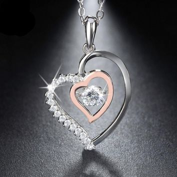 Valentine Double Heart Pendant Necklace