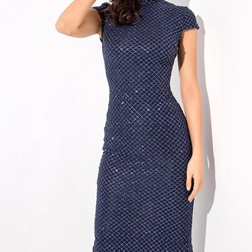 Chic Moment Navy Glitter Geometric Pattern Cap Sleeve Mock Neck Bodycon Midi Dress