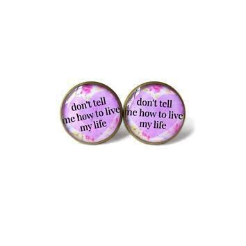 floral conversation heart lavender pastel goth don t tell me how to live my life stud