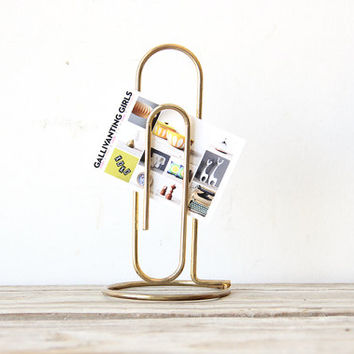 Oversize Gold Paperclip Desk Organizer