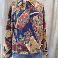 Size Large Linen Beaded Womens Jacket Southwest Hippie Boho Style Clothes Coat Southwest Jacket Country Jacket