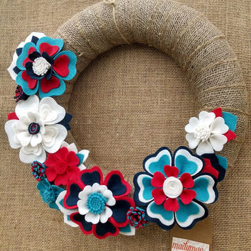 Burlap wreath, holiday wreath, patriotic wreath, door decor, mantel, red white blue wreath, burlap floral wreath,14 inch, READY TO SHIP