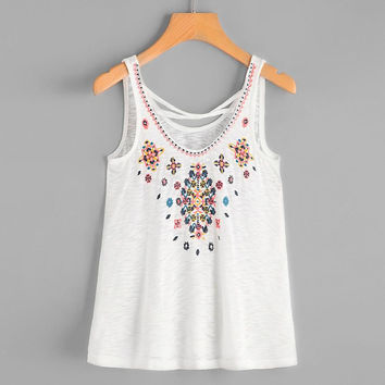 Floral Embroidery Women Sleeveless Crop Top