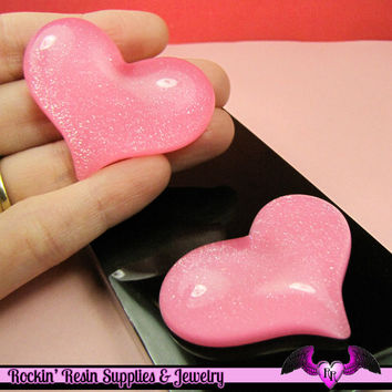 HUGE PUFFY Pink Glitter HEART Resin Decoden Flatback Kawaii Cabochons 49x38mm (3 pieces)