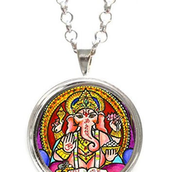 Lord Ganesh God Intellect Wisdom Silver Pendant with Chain Necklace
