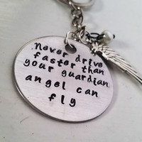 Never drive faster than your guardian angel can fly - with wings Necklace/Key Chain-Jewelry