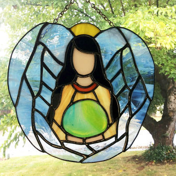 Angels, Stained Glass Angels, Angel Suncatcher, Christian Decor, Stain glass Angel, Angel suncatcher, prism suncatcher, Gifts under 100