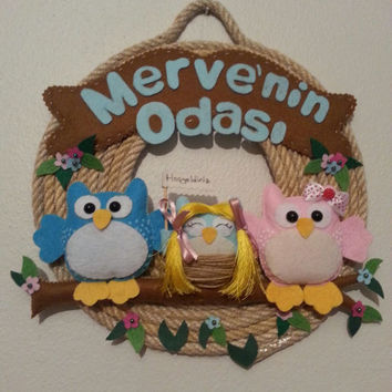 Owl nursery decor, Personalized nursery decor, Nursery wall art, Nursery wall decor, Kid Bedroom Decor, Door Name Sign, Wall Hanging