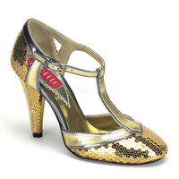 Flapper Shoes-Bordello Cabaret Gold Sequin T Strap Heels