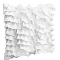 Decorative pillow covers in white satin with ruffles- Handmade ruffle pillow covers- Sofa pillows- Sateen pillow covers- White pillow covers- White sateen throw pillows