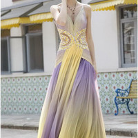 Bohemian Fairy Bridesmaid Dress in Purple and Yellow