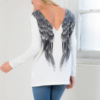 White Backless Wings Print Long Sleeve T-Shirt