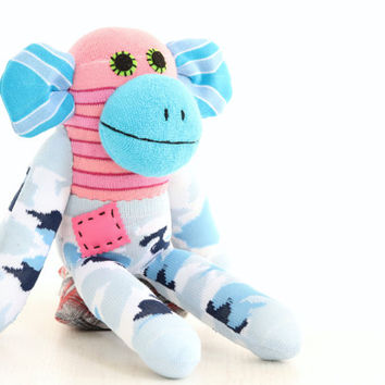 T8 Handmade Sock Monkey Stuffed Animal Doll Baby Toys pink with Blue camouflage
