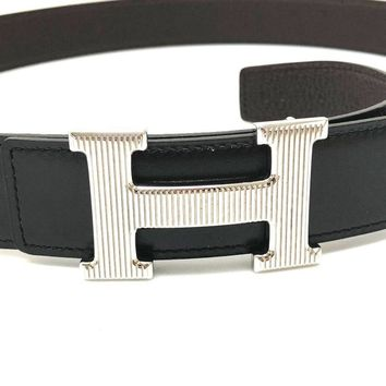 AUTHENTIC HERMES H Belt Reversible Belt Black/Brown Boxcalf/Togo Leather