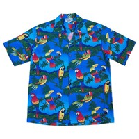 flock of birds blue hawaiian cotton shirt