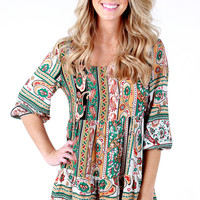Pretty in Paisley Peasant Dress