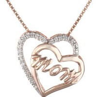 "fals18k Rose Gold plated Sterling Silver Cubic Zirconia Heart Pendant Necklace, 18""e"