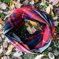 Plaid Herringbone Infinity Scarf
