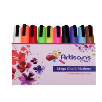 Artisan's Effect® -  Chalk & Craft Markers 10 Pack With Double Ink with 6mm Reversible Tip for Crafts