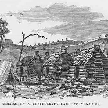 Abandoned Confederate log cabins at Manassas (Fine Art Giclee)