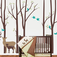 NEW Birch Tree decal with Deers LG set, 3 Piece Deer Set, Birch Decal, Birch Forest, Nursery Birch Trees Wall Vinyl