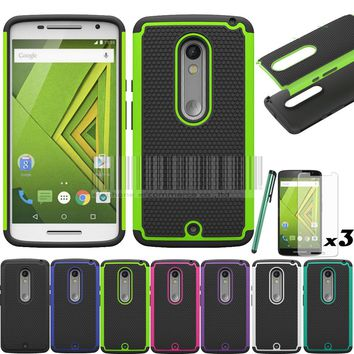 Cover For Motorola Moto X Play XT1562 XT1563/Droid Maxx 2 Rugged Heavy Duty Impact Hybrid Case Cover With/Without Films+Stylus