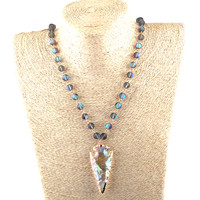 Moodpc Fashion Beautiful Shiny Crystal Beads Gold Chain Crystal Arrowhead Charm Summer Autumn Pendant Necklace-in Pendant Necklaces from Jewelry & Accessories on Aliexpress.com | Alibaba Group