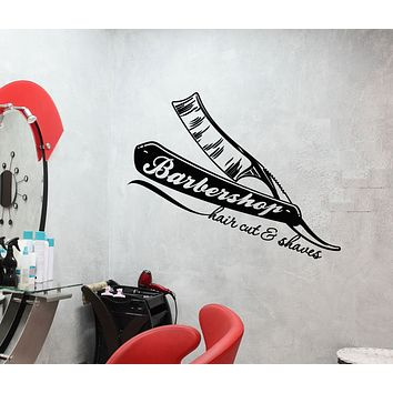 Vinyl Wall Decal Barbershop Logo Straight Razors For Hairdresser Stickers (3163ig)