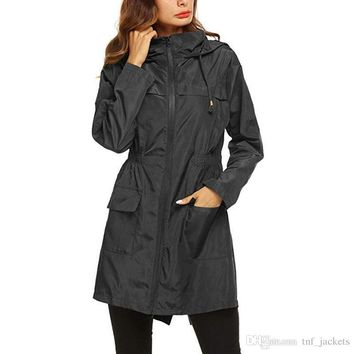 2019 New Winter Spring Women Designer Winter Coats Fashion Windproof High Quality Raincoats Hoodies Ladies Coats Black Size S-XXL