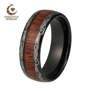 Mens Wedding Band 8mm Black Tungsten Ring Wood Inlay Grain Pattern Laser Engraved Dome Comfort Fit 6mm For Women