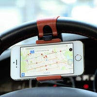 Car Steering Wheel Phone Socket Holder Driving GPS Navigator Rack Sucker