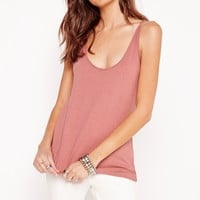 Missguided - Extreme Scoop Neck Cami Vest Pink