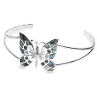 Silver Pave Shell Butterfly Bangle: Amazon.co.uk: Jewellery