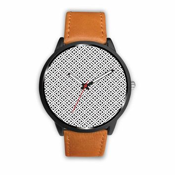 Leather stainless steel custom designed watch